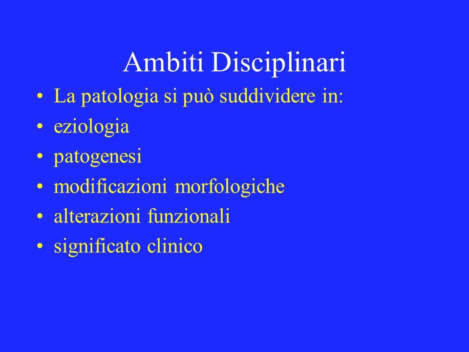 Ambiti Disciplinari La patologia si può suddividere in: eziologia patogenesi modificazioni morfologiche alterazioni funzionali significato clinico