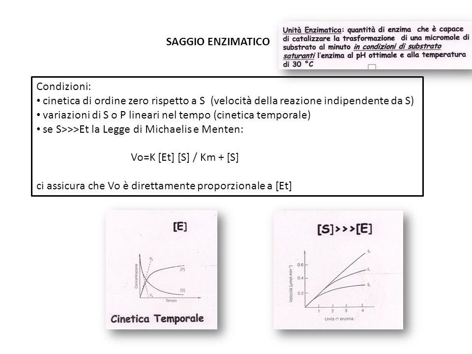 SAGGIO ENZIMATICO Condizioni: cinetica di ordine zero rispetto a S (velocità della reazione indipendente da S) variazioni di S o P lineari nel tempo (