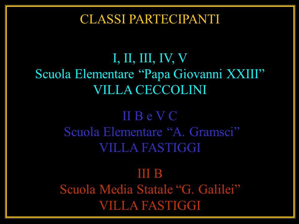 CLASSI PARTECIPANTI I, II, III, IV, V Scuola Elementare Papa Giovanni XXIII VILLA CECCOLINI II B e V C Scuola Elementare A. Gramsci VILLA FASTIGGI III