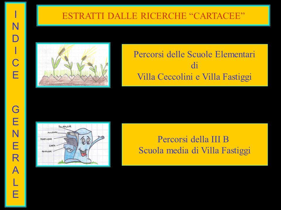 INDICEGENERALEINDICEGENERALE ESTRATTI DALLE RICERCHE CARTACEE Percorsi delle Scuole Elementari di Villa Ceccolini e Villa Fastiggi Percorsi della III