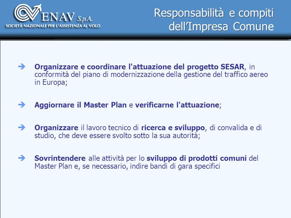 Responsabilità e compiti dellImpresa Comun Responsabilità e compiti dellImpresa Comune Organizzare e coordinare l'attuazione del progetto SESAR, in co