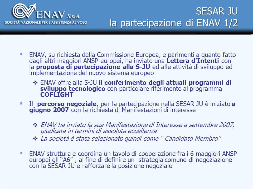 SESAR JU la partecipazione di ENAV 1/2 ENAV, su richiesta della Commissione Europea, e parimenti a quanto fatto dagli altri maggiori ANSP europei, ha