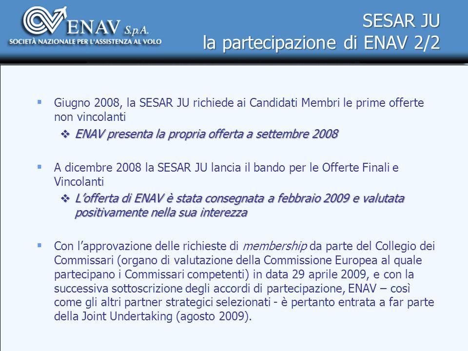 SESAR JU la partecipazione di ENAV 22 SESAR JU la partecipazione di ENAV 2/2 Giugno 2008, la SESAR JU richiede ai Candidati Membri le prime offerte no