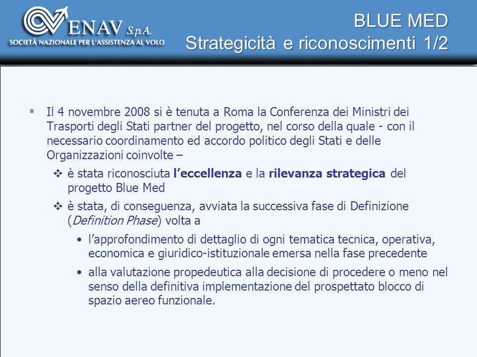 BLUE MED Strategicità e riconoscimenti 1/2 Il 4 novembre 2008 si è tenuta a Roma la Conferenza dei Ministri dei Trasporti degli Stati partner del prog
