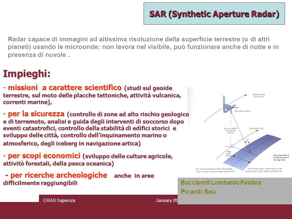 January 2010 CRAS SapienzaPage 11/6 Radar capace di immagini ad altissima risoluzione della superficie terrestre (o di altri pianeti) usando le microo