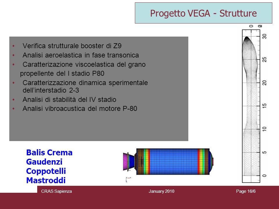 January 2010 CRAS SapienzaPage 16/6 Verifica strutturale booster di Z9 Analisi aeroelastica in fase transonica Caratterizazione viscoelastica del gran