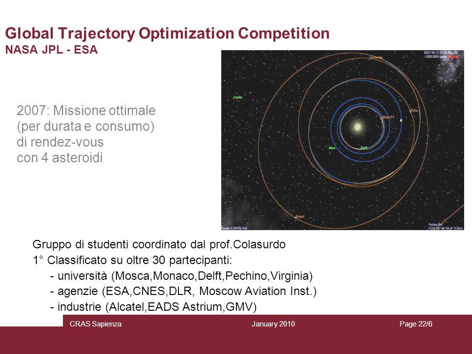 January 2010 CRAS SapienzaPage 22/6 Global Trajectory Optimization Competition NASA JPL - ESA 2007: Missione ottimale (per durata e consumo) di rendez