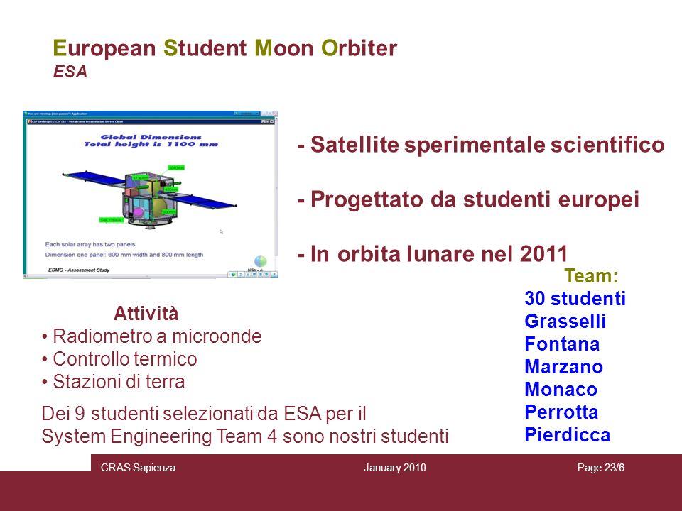 January 2010 CRAS SapienzaPage 23/6 European Student Moon Orbiter ESA - Satellite sperimentale scientifico - Progettato da studenti europei - In orbit