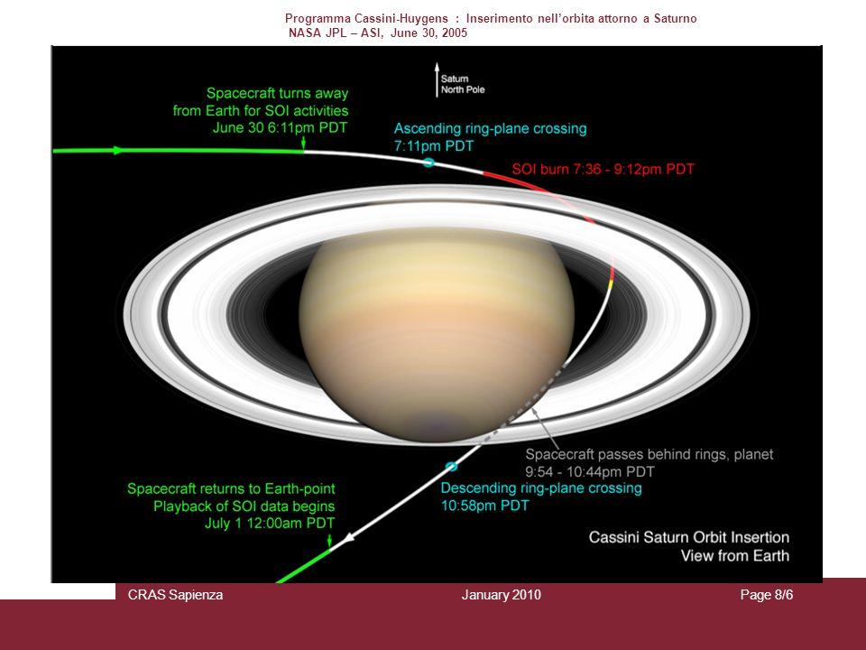 January 2010 CRAS SapienzaPage 8/6 Programma Cassini-Huygens : Inserimento nellorbita attorno a Saturno NASA JPL – ASI, June 30, 2005