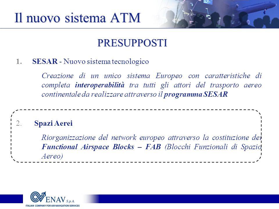 1.SESAR - Nuovo sistema tecnologico Creazione di un unico sistema Europeo con caratteristiche di completa interoperabilità tra tutti gli attori del trasporto aereo continentale da realizzare attraverso il programma SESAR 2.