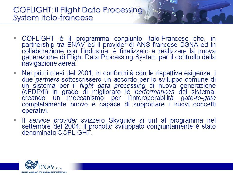 COFLIGHT: il Flight Data Processing System italo-francese COFLIGHT è il programma congiunto Italo-Francese che, in partnership tra ENAV ed il provider di ANS francese DSNA ed in collaborazione con lindustria, è finalizzato a realizzare la nuova generazione di Flight Data Processing System per il controllo della navigazione aerea.