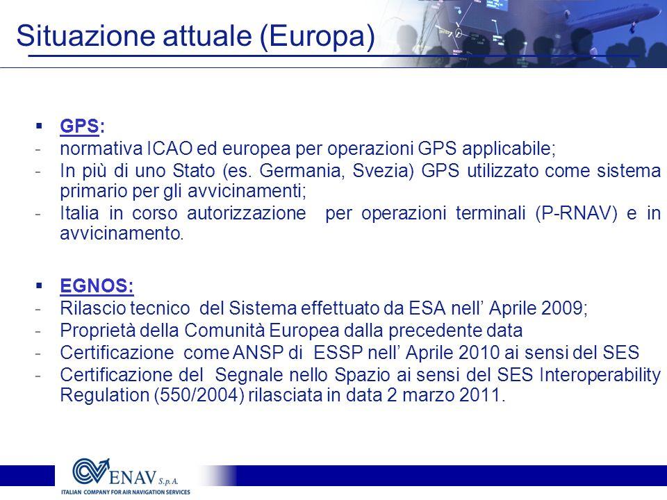 Situazione attuale (Europa) GPS: -normativa ICAO ed europea per operazioni GPS applicabile; -In più di uno Stato (es. Germania, Svezia) GPS utilizzato