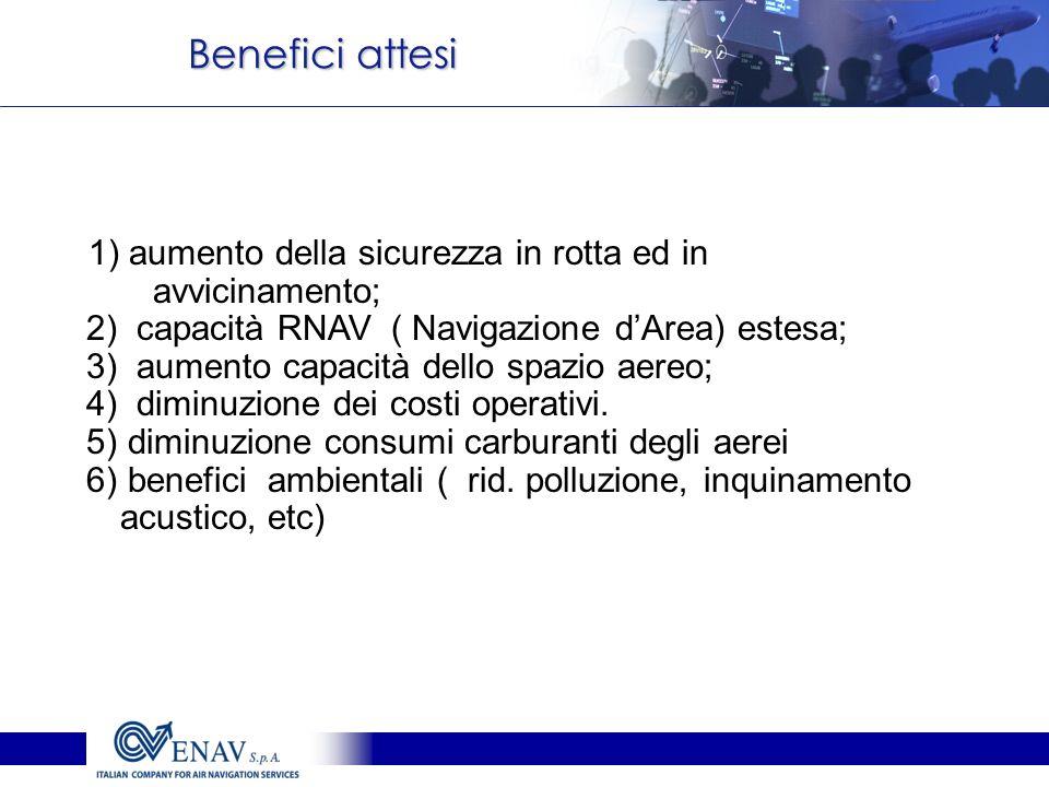 Benefici attesi 1) aumento della sicurezza in rotta ed in avvicinamento; 2) capacità RNAV ( Navigazione dArea) estesa; 3) aumento capacità dello spazi