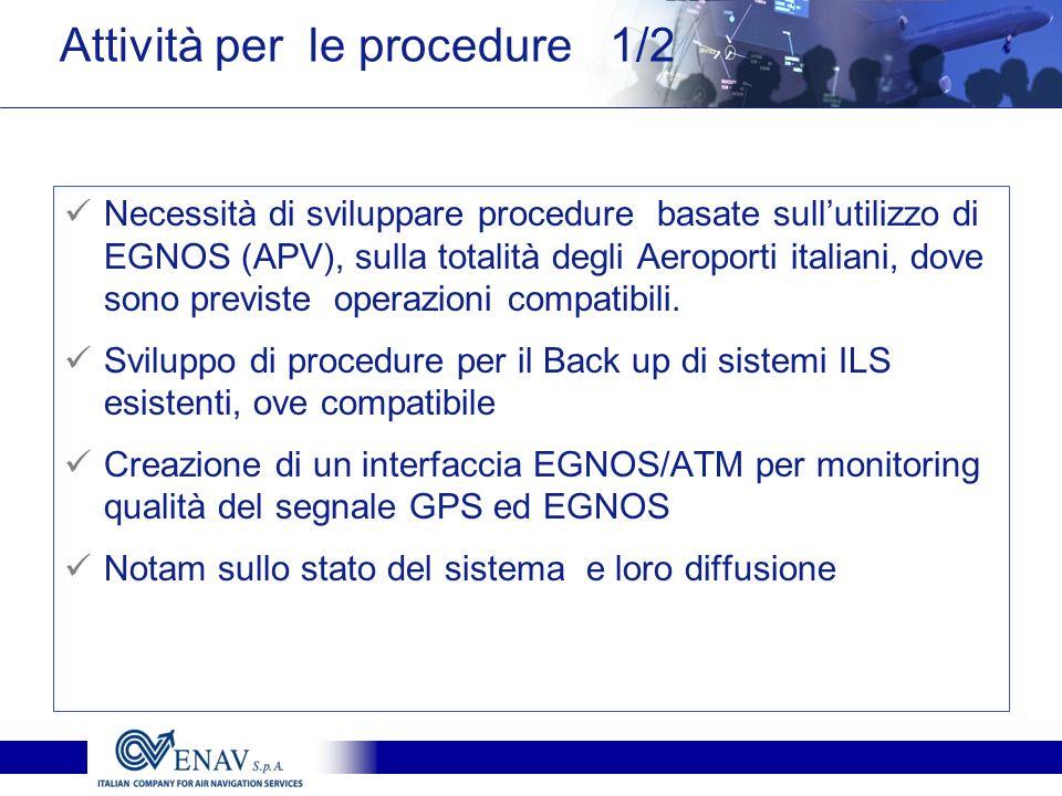 Necessità di sviluppare procedure basate sullutilizzo di EGNOS (APV), sulla totalità degli Aeroporti italiani, dove sono previste operazioni compatibi