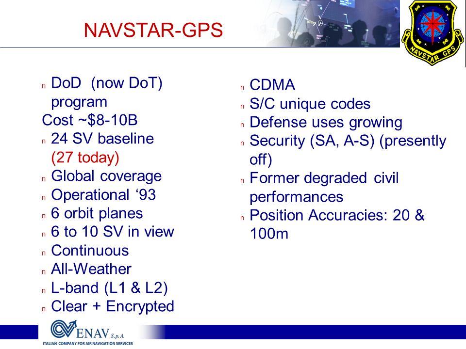 n CDMA n S/C unique codes n Defense uses growing n Security (SA, A-S) (presently off) n Former degraded civil performances n Position Accuracies: 20 &