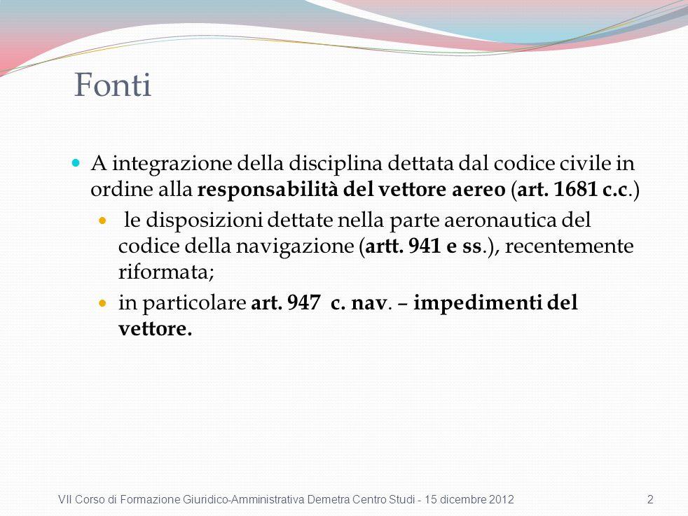 Fonti A integrazione della disciplina dettata dal codice civile in ordine alla responsabilità del vettore aereo ( art. 1681 c.c.) le disposizioni dett