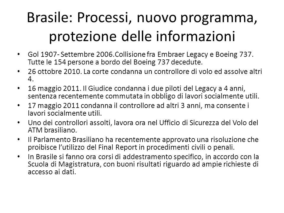 Brasile: Processi, nuovo programma, protezione delle informazioni Gol 1907- Settembre 2006.Collisione fra Embraer Legacy e Boeing 737.