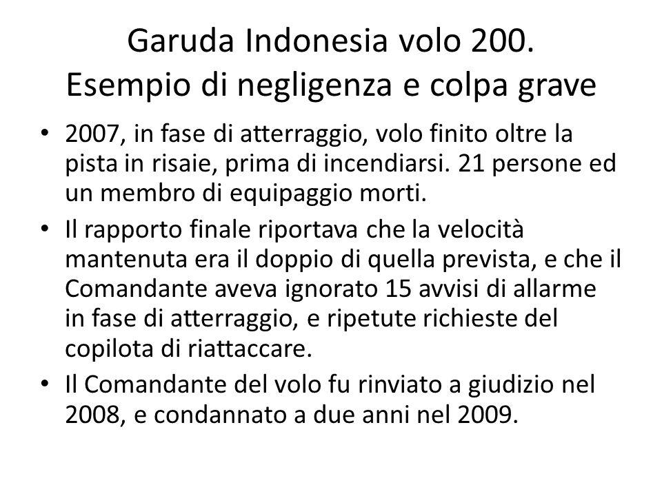 Garuda Indonesia volo 200. Esempio di negligenza e colpa grave 2007, in fase di atterraggio, volo finito oltre la pista in risaie, prima di incendiars