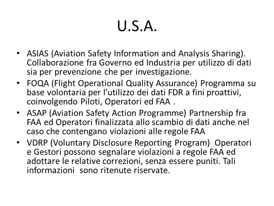 Accordi per scambio di dati 1 aprile 2010.ICAO High-Level Safety Conference.