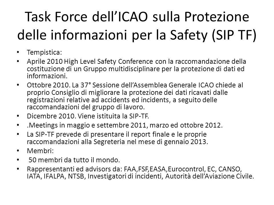 Task Force dellICAO sulla Protezione delle informazioni per la Safety (SIP TF) Tempistica: Aprile 2010 High Level Safety Conference con la raccomandazione della costituzione di un Gruppo multidisciplinare per la protezione di dati ed informazioni.