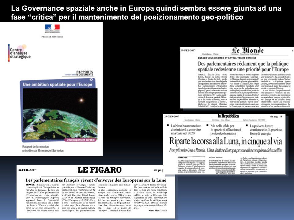 La Governance spaziale anche in Europa quindi sembra essere giunta ad una fase critica per il mantenimento del posizionamento geo-politico continental