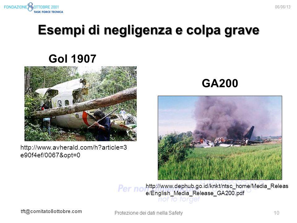 tft@comitato8ottobre.com Esempi di negligenza e colpa grave Gol 1907 06/06/13 Protezione dei dati nella Safety 10 http://www.avherald.com/h?article=3