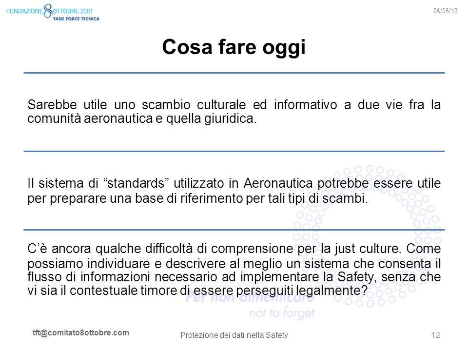 tft@comitato8ottobre.com Cosa fare oggi Sarebbe utile uno scambio culturale ed informativo a due vie fra la comunità aeronautica e quella giuridica. I