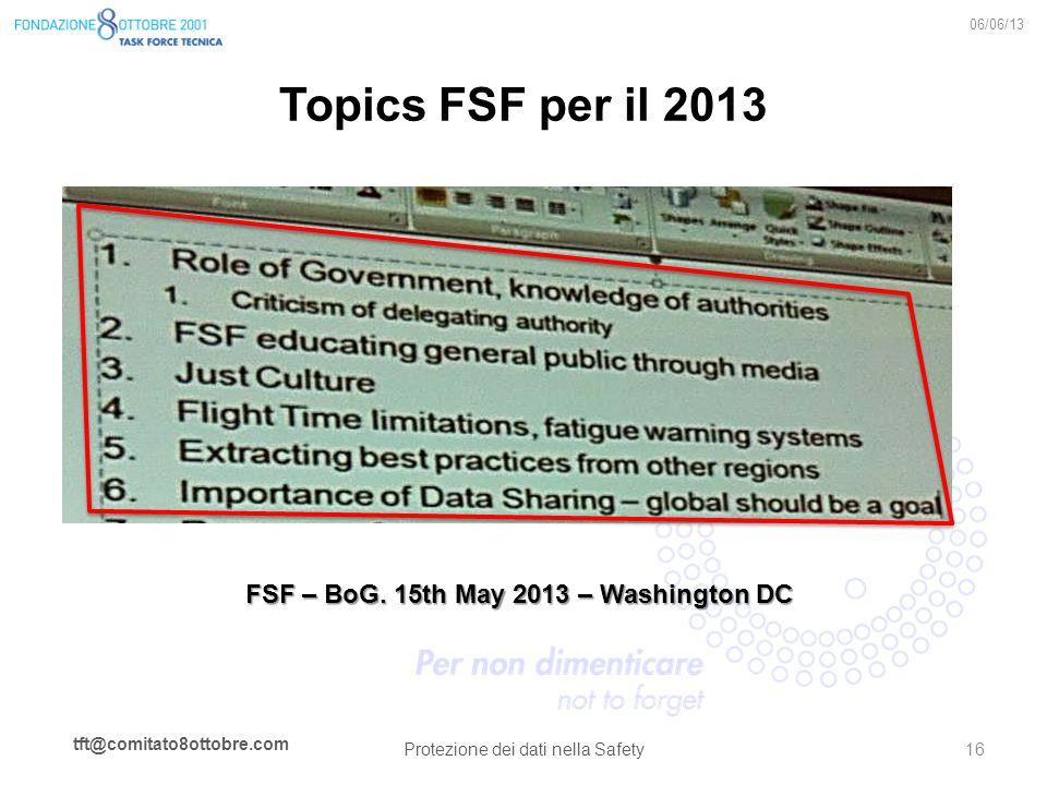 tft@comitato8ottobre.com Topics FSF per il 2013 06/06/13 Protezione dei dati nella Safety 16 FSF – BoG. 15th May 2013 – Washington DC