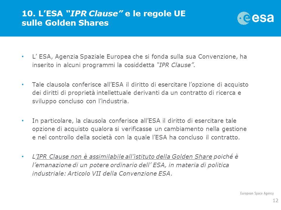 10. LESA IPR Clause e le regole UE sulle Golden Shares L ESA, Agenzia Spaziale Europea che si fonda sulla sua Convenzione, ha inserito in alcuni progr