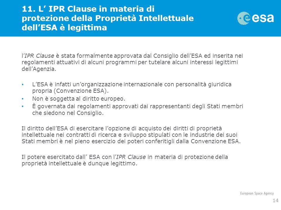 11. L IPR Clause in materia di protezione della Proprietà Intellettuale dellESA è legittima lIPR Clause è stata formalmente approvata dal Consiglio de