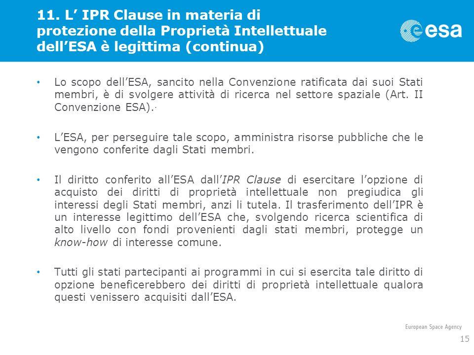 11. L IPR Clause in materia di protezione della Proprietà Intellettuale dellESA è legittima (continua) Lo scopo dellESA, sancito nella Convenzione rat