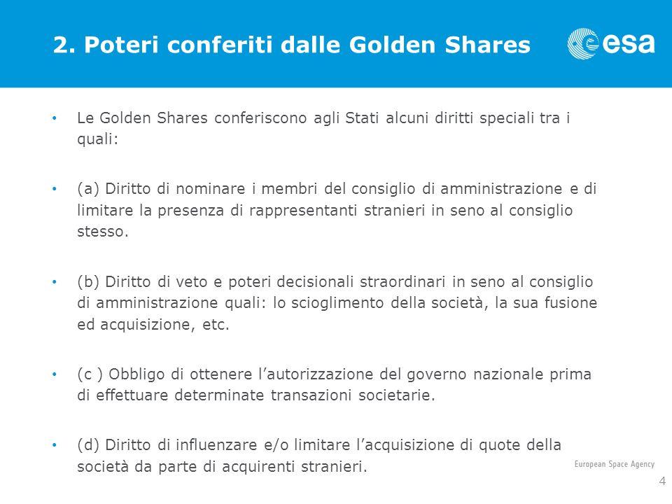 2. Poteri conferiti dalle Golden Shares Le Golden Shares conferiscono agli Stati alcuni diritti speciali tra i quali: (a) Diritto di nominare i membri