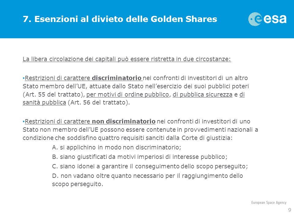 7. Esenzioni al divieto delle Golden Shares La libera circolazione dei capitali può essere ristretta in due circostanze: Restrizioni di carattere disc