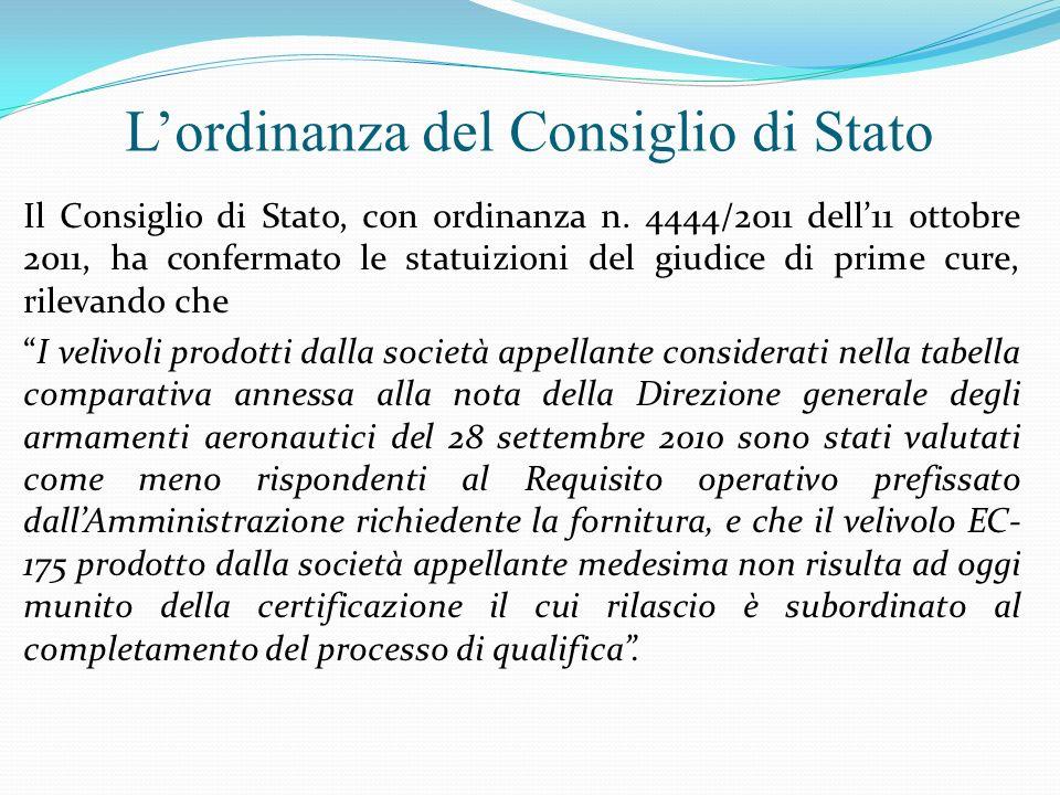 Lordinanza del Consiglio di Stato Il Consiglio di Stato, con ordinanza n. 4444/2011 dell11 ottobre 2011, ha confermato le statuizioni del giudice di p
