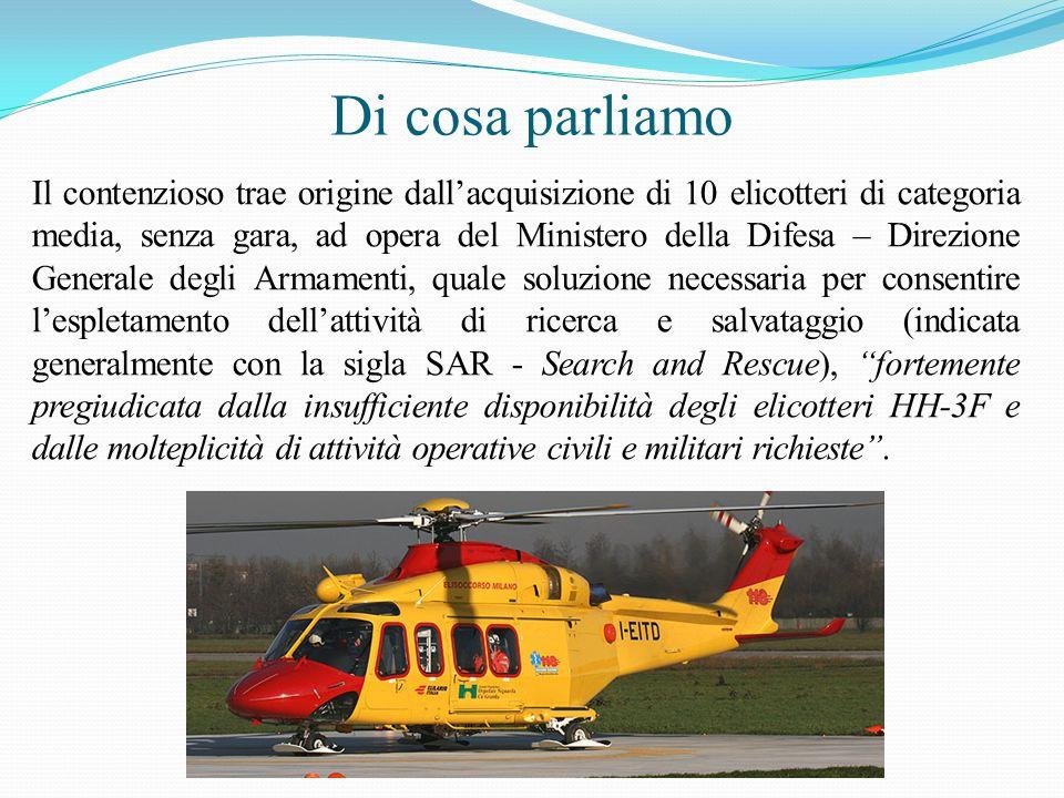 Di cosa parliamo Il contenzioso trae origine dallacquisizione di 10 elicotteri di categoria media, senza gara, ad opera del Ministero della Difesa – D