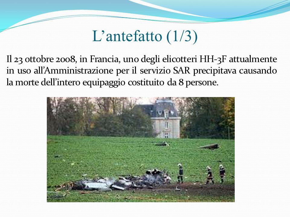 Lantefatto (1/3) Il 23 ottobre 2008, in Francia, uno degli elicotteri HH-3F attualmente in uso allAmministrazione per il servizio SAR precipitava caus