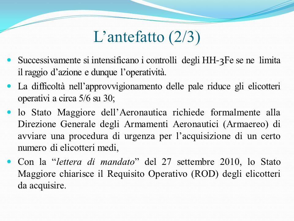 Lantefatto (3/3) Con nota del 28 settembre 2010, la Direzione generale individua un unico modello in grado di soddisfare le specifiche richieste: lelicottero AW-139 di Agusta s.p.a.