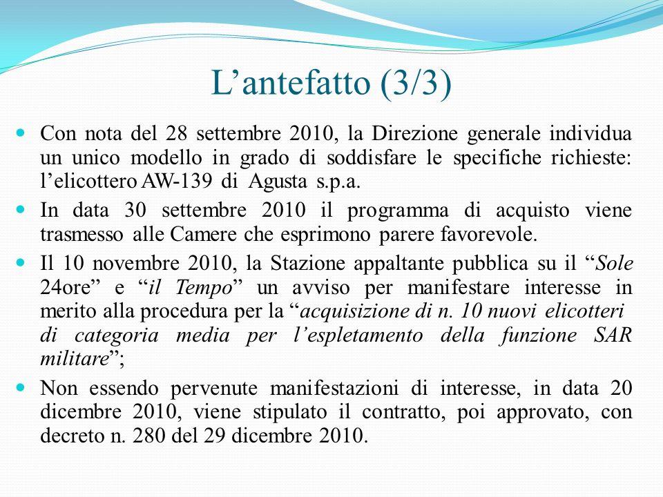 Lantefatto (3/3) Con nota del 28 settembre 2010, la Direzione generale individua un unico modello in grado di soddisfare le specifiche richieste: leli