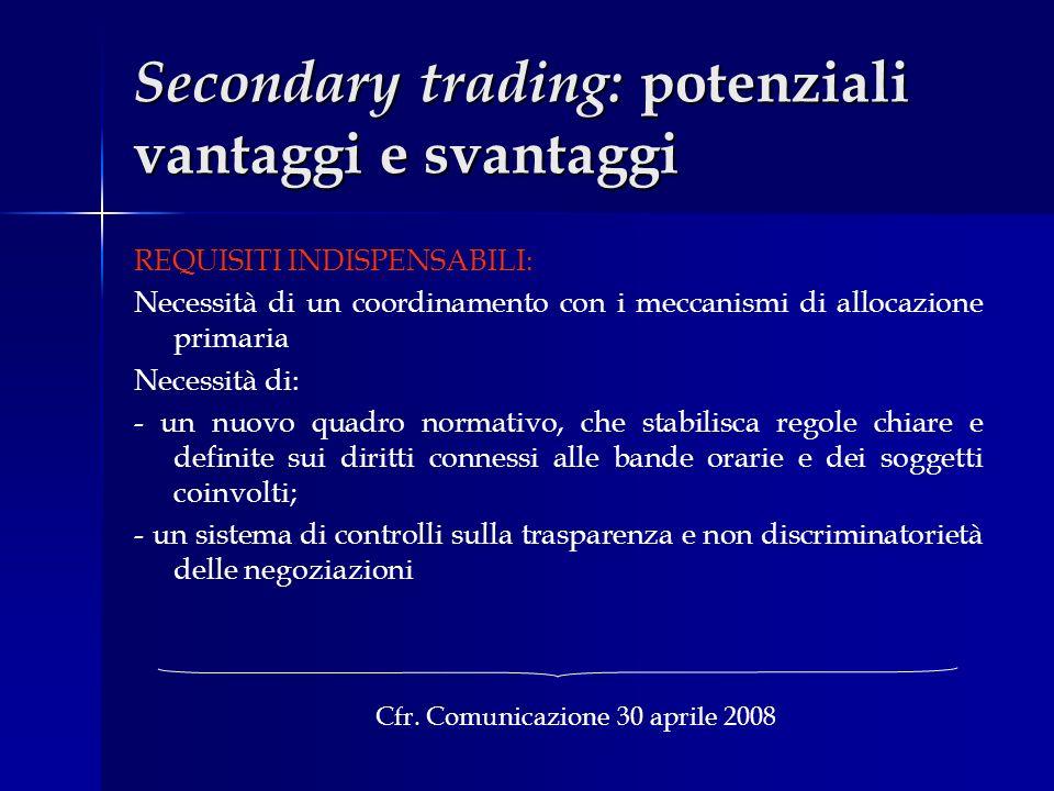 Secondary trading: potenziali vantaggi e svantaggi REQUISITI INDISPENSABILI: Necessità di un coordinamento con i meccanismi di allocazione primaria Ne