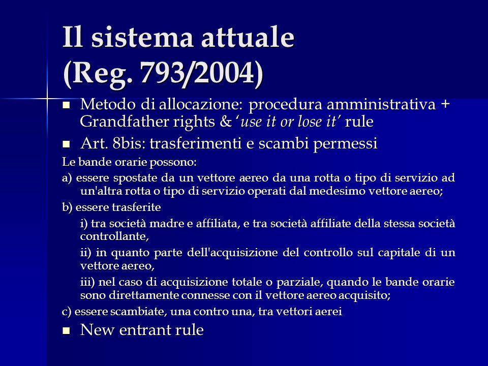 Il sistema attuale (Reg. 793/2004) Metodo di allocazione: procedura amministrativa + Grandfather rights & use it or lose it rule Metodo di allocazione