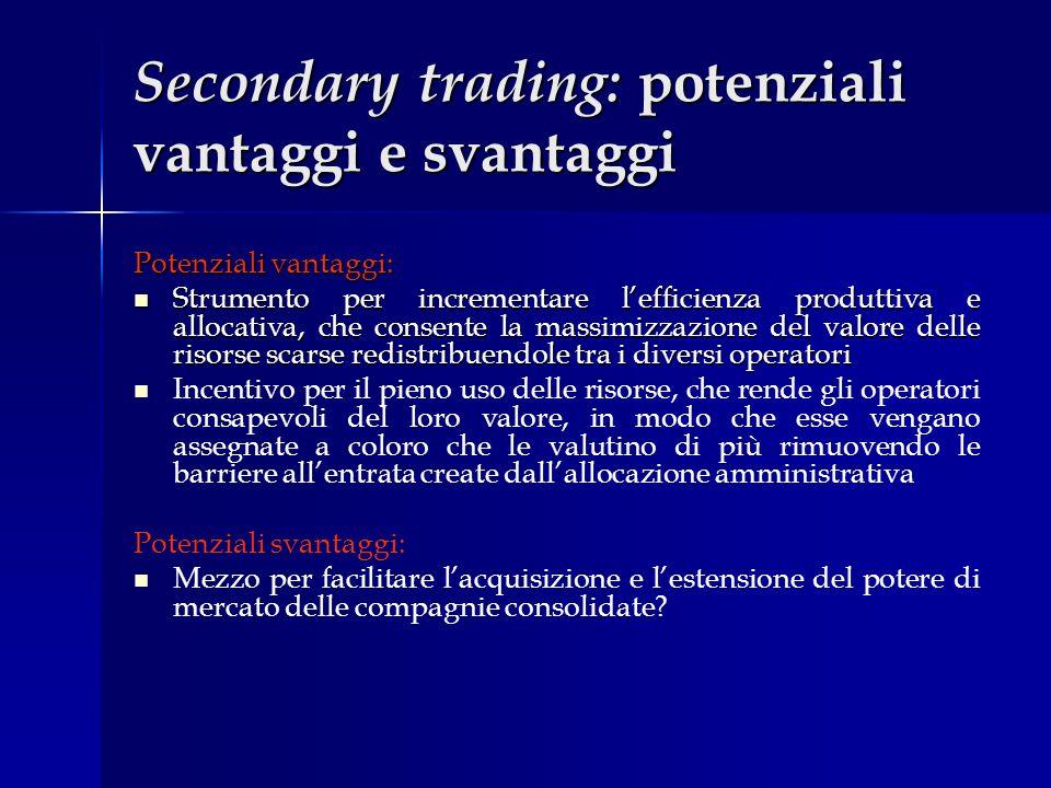 Secondary trading: potenziali vantaggi e svantaggi Potenziali vantaggi: Strumento per incrementare lefficienza produttiva e allocativa, che consente l