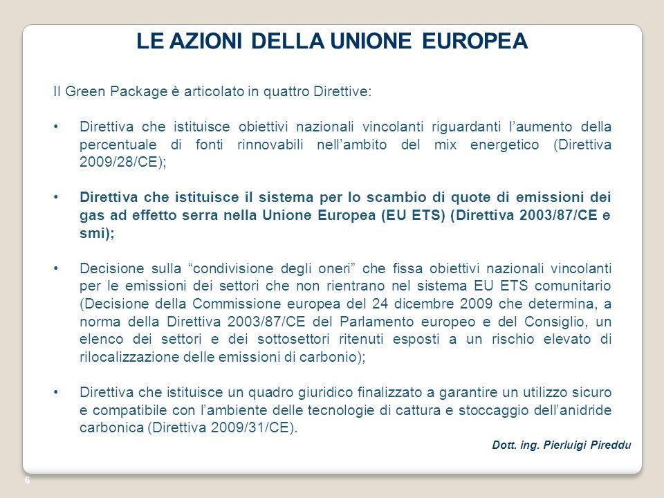 6 LE AZIONI DELLA UNIONE EUROPEA Il Green Package è articolato in quattro Direttive: Direttiva che istituisce obiettivi nazionali vincolanti riguardan
