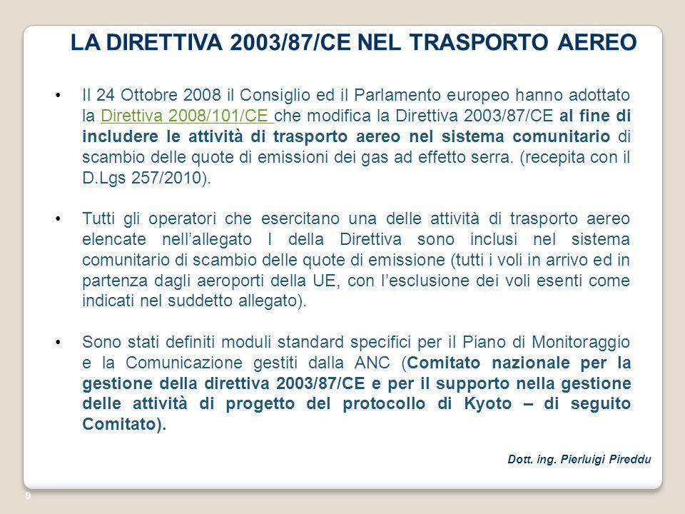 9 LA DIRETTIVA 2003/87/CE NEL TRASPORTO AEREO Il 24 Ottobre 2008 il Consiglio ed il Parlamento europeo hanno adottato la Direttiva 2008/101/CE che mod