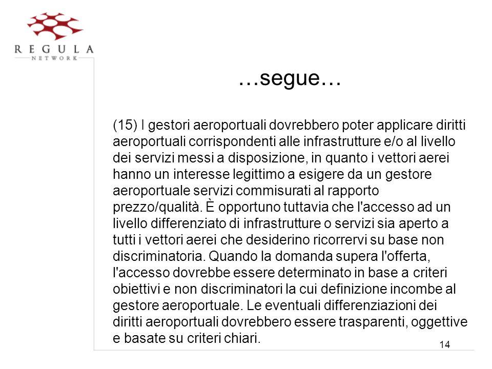 14 …segue… (15) I gestori aeroportuali dovrebbero poter applicare diritti aeroportuali corrispondenti alle infrastrutture e/o al livello dei servizi m
