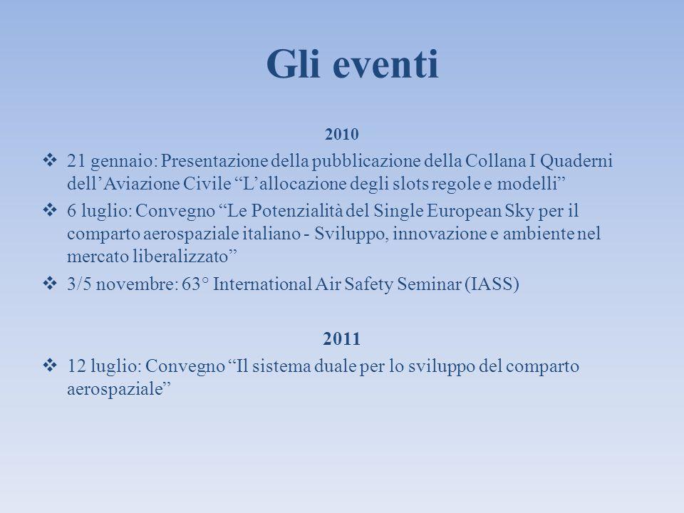Gli eventi 2010 21 gennaio: Presentazione della pubblicazione della Collana I Quaderni dellAviazione Civile Lallocazione degli slots regole e modelli