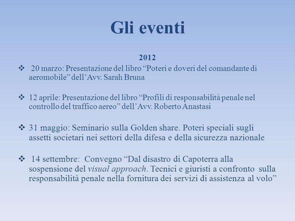 Gli eventi 2012 20 marzo: Presentazione del libro Poteri e doveri del comandante di aeromobile dellAvv. Sarah Bruna 12 aprile: Presentazione del libro