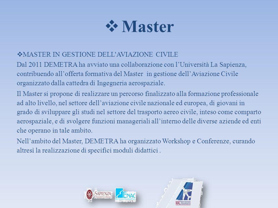Master MASTER IN GESTIONE DELL'AVIAZIONE CIVILE Dal 2011 DEMETRA ha avviato una collaborazione con lUniversità La Sapienza, contribuendo allofferta fo