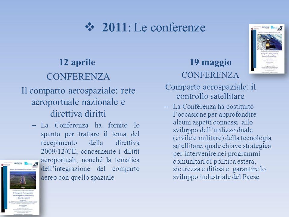 2011: Le conferenze 12 aprile CONFERENZA Il comparto aerospaziale: rete aeroportuale nazionale e direttiva diritti – La Conferenza ha fornito lo spunt