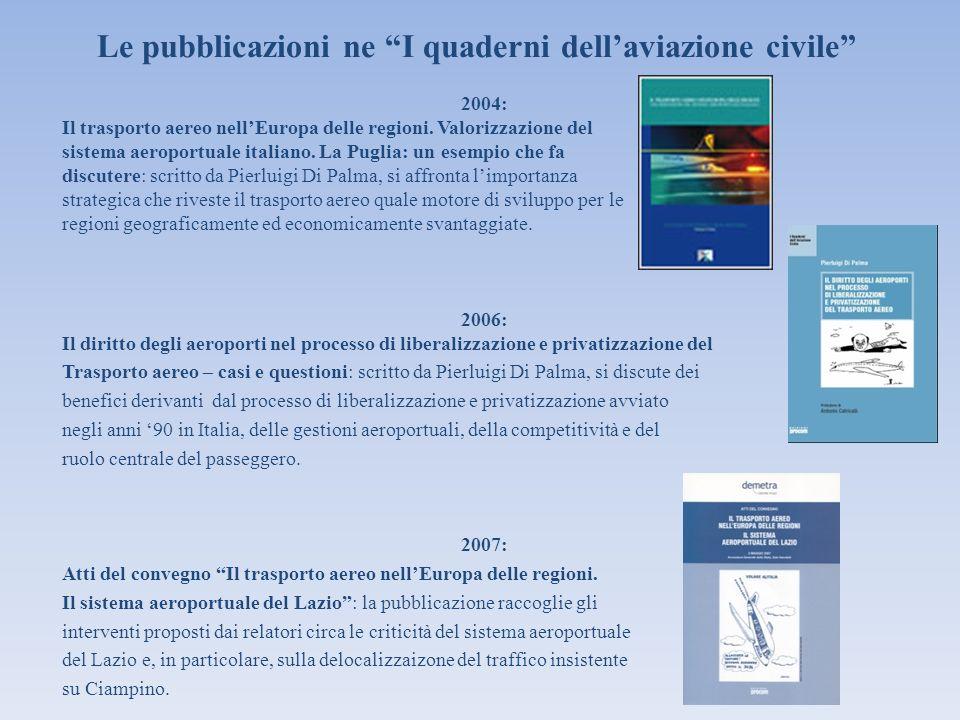 Le pubblicazioni ne I quaderni dellaviazione civile 2004: Il trasporto aereo nellEuropa delle regioni. Valorizzazione del sistema aeroportuale italian