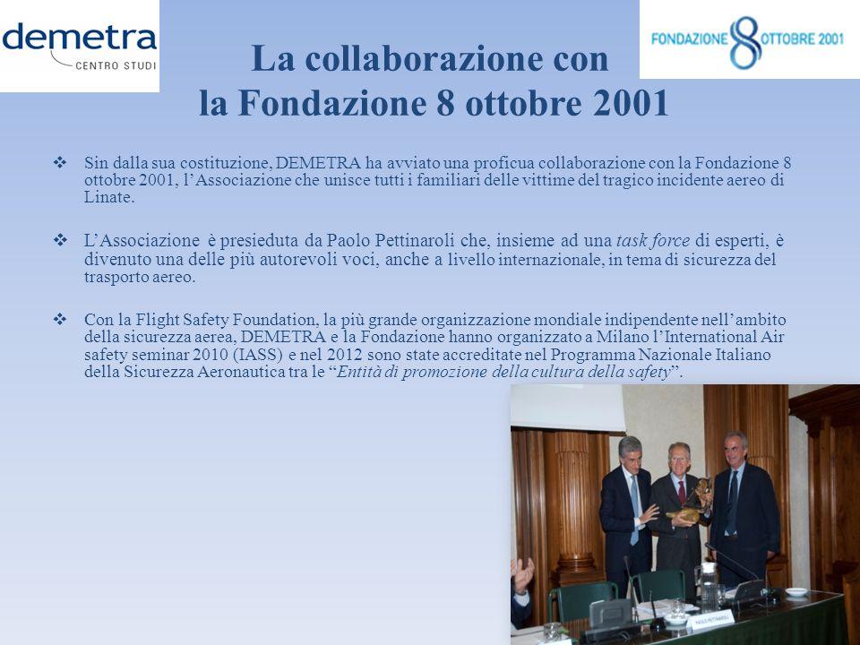 La collaborazione con la Fondazione 8 ottobre 2001 Sin dalla sua costituzione, DEMETRA ha avviato una proficua collaborazione con la Fondazione 8 otto